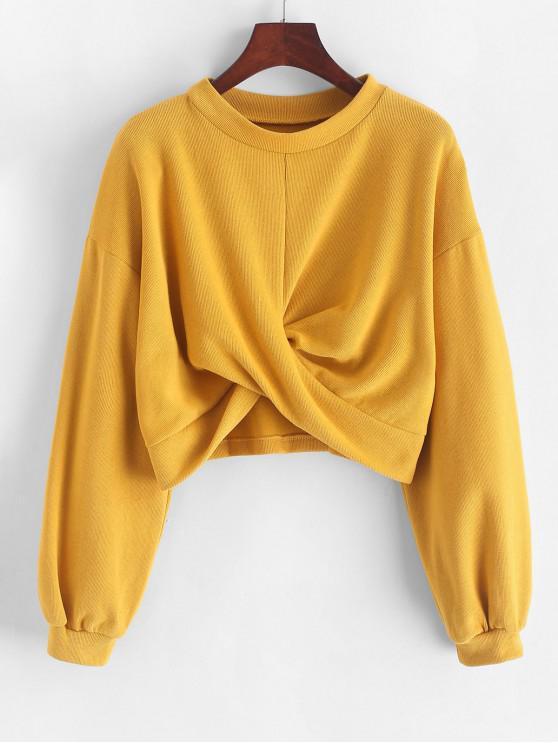 buy Twisted Drop Shoulder Crop Sweatshirt - YELLOW M
