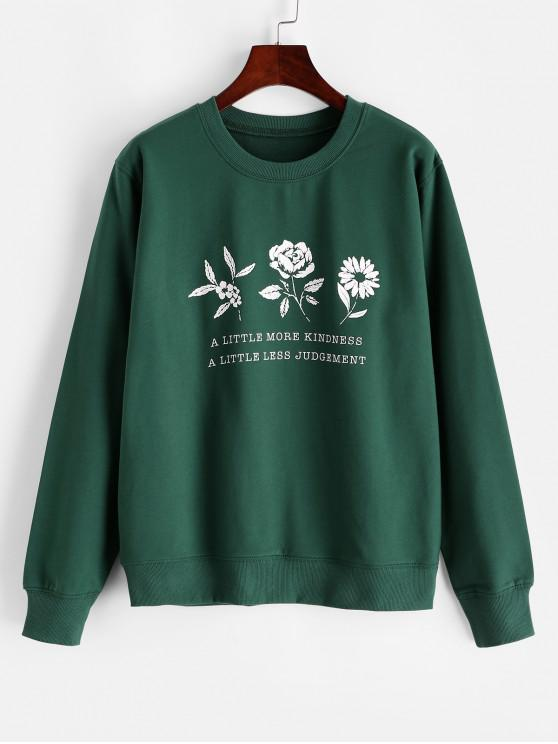 lady Flower Graphic Cotton French Terry Sweatshirt - DEEP GREEN 2XL
