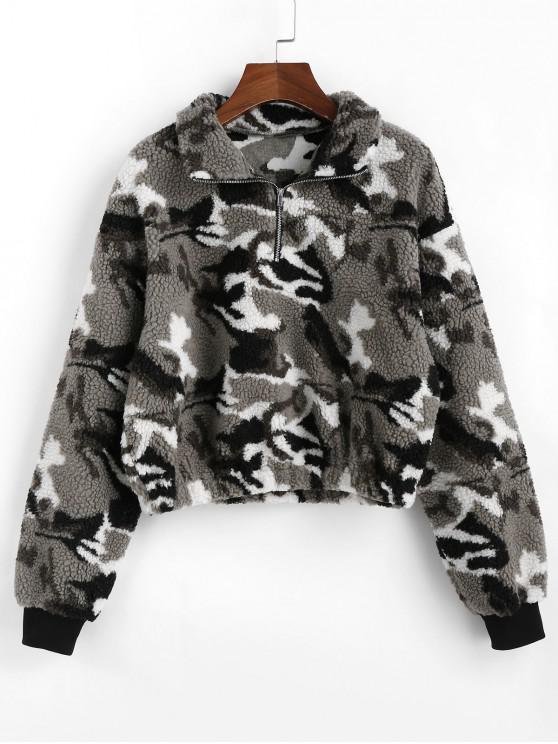 trendy ZAFUL Camo Drop Shoulder Front Zip Teddy Sweatshirt - CLOUDY GRAY L