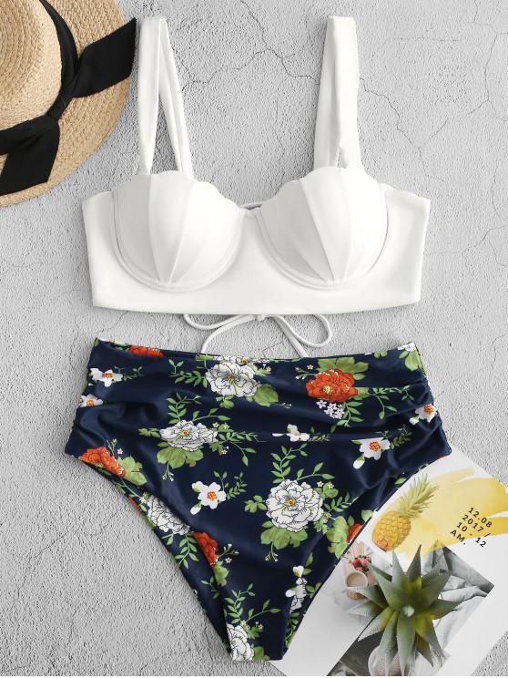 women's ZAFUL Floral Print Push Up Seashell Tankini Set - LAPIS BLUE L