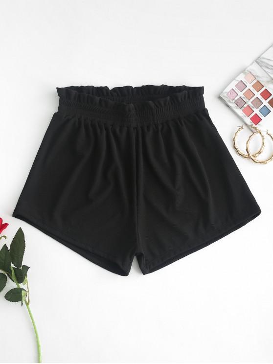 best ZAFUL Frilled Ribbed Boyshort Bikini Bottom - BLACK L