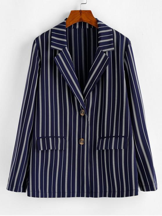 affordable ZAFUL Tortoise Button Vertical Striped Blazer - DARK SLATE BLUE L