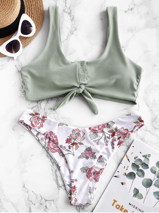chic ZAFUL Ribbed Snap Button Tied Flower Bikini Swimwear - CYAN OPAQUE L