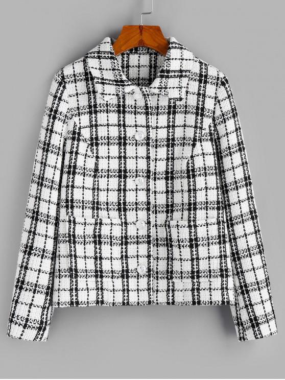 lady ZAFUL Plaid Print Double Pockets Tweed Jacket - MULTI-A M