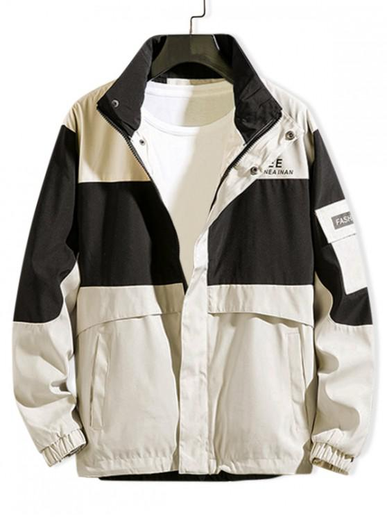 affordable Colorblock Spliced Letter Cargo Jacket - WARM WHITE 3XL