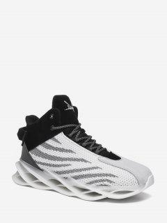 Irregular Stripe Breathable Mesh Basketball Sneakers - White Eu 42