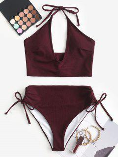 ZAFUL Cinched Solid Halter Tankini Set - Velvet Maroon Xl