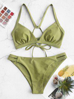 ZAFUL Lace Up Solid Padded Bikini Set - Avocado Green S
