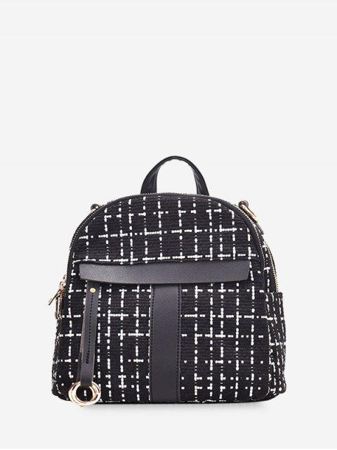fancy Casual Plaid Pattern Simple Backpack - BLACK  Mobile