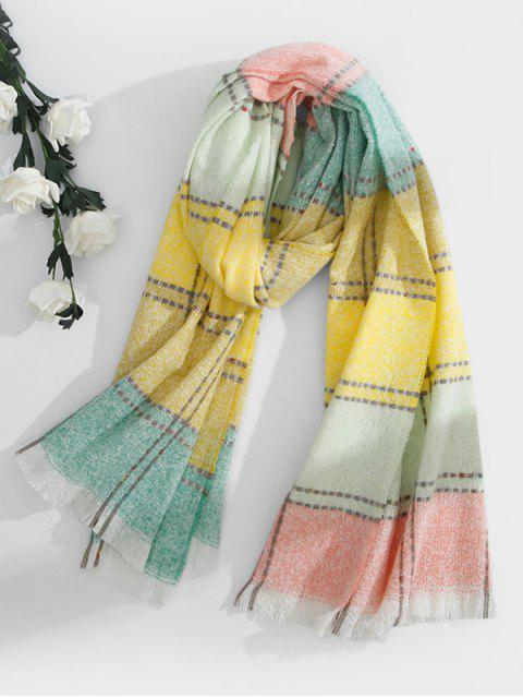 unique Colored Checkered Fringed Long Scarf - GREEN  Mobile
