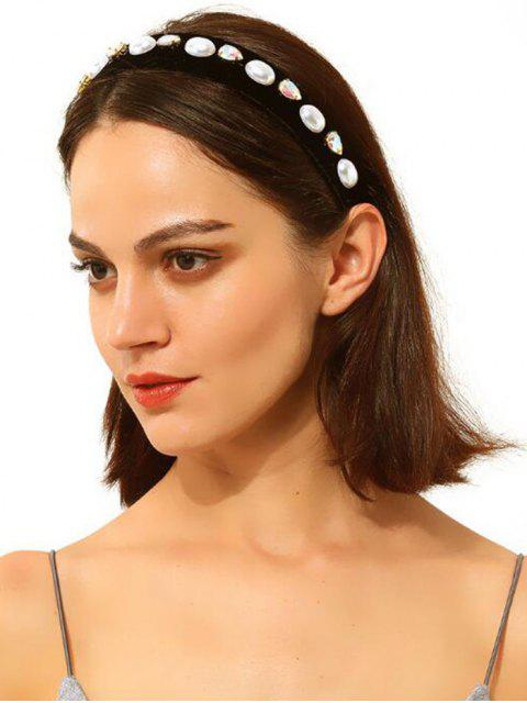 fancy Artificial Pearl Rhinestone Water Drop Hairband - BLACK  Mobile