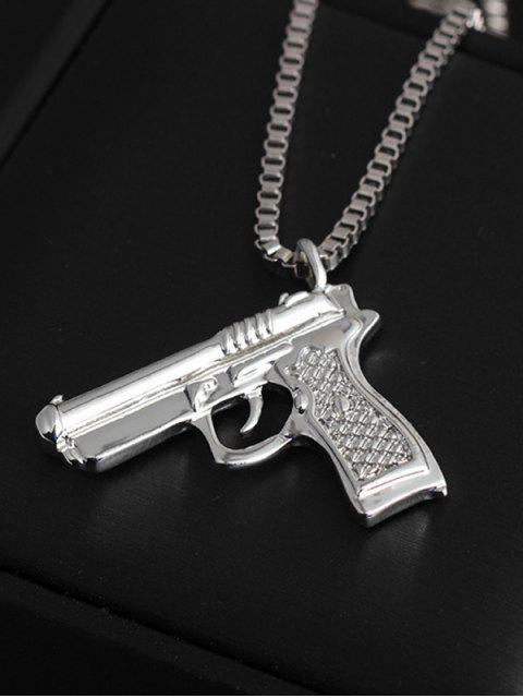 outfit Hip-hop Gun Shape Pendant Necklace - SILVER  Mobile