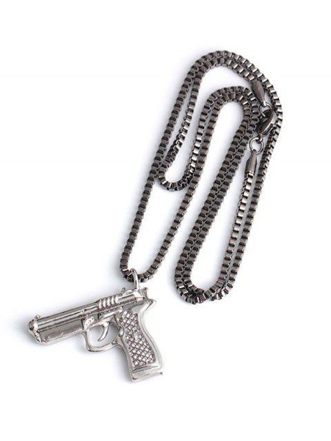 Collar Pendiente de Hip-hop - Gunmetal  Mobile