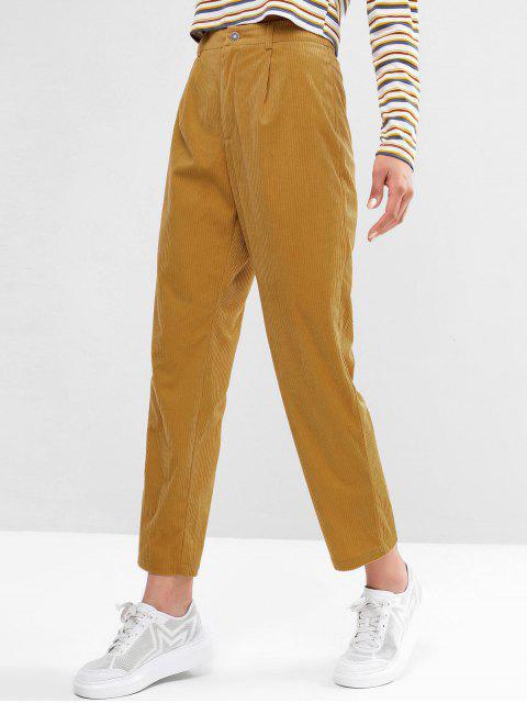 Pantalones de lápiz de cintura alta con cierre de cremallera ZAFUL de pana - Amarilla de Abeja  S Mobile