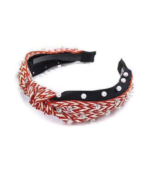 women's Zigzag Faux Pearl Rhinestone Hairband - RED  Mobile