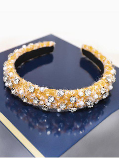 Bandeau Fausse Perle avec Strass - Jaune  Mobile