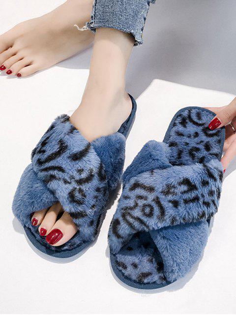 ladies Leopard Print Criss-cross Faux Fur Flat Shoes - BLUE EU 40 Mobile