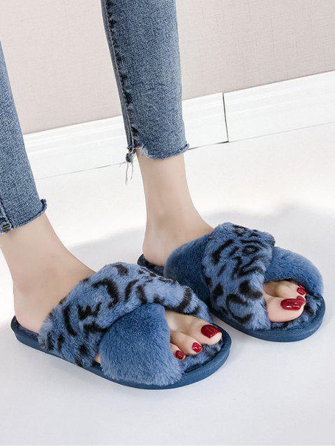 Chaussures Plates Léopard Imprimé Croisées en Fausse Fourrure - Bleu EU 38 Mobile
