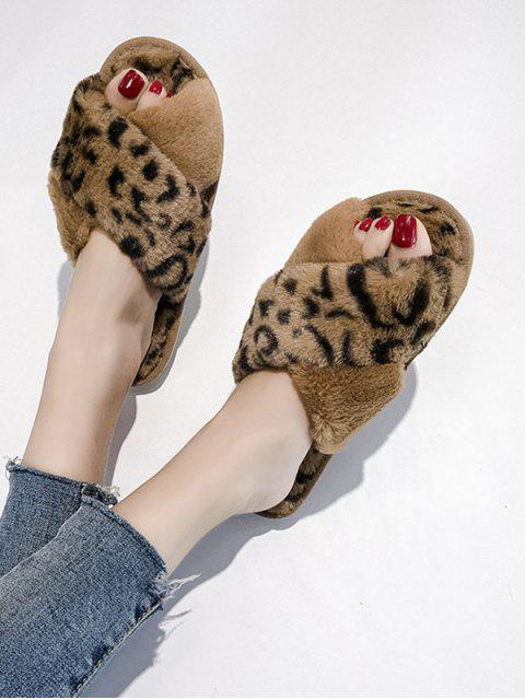Леопардовый принт Перекрестные шнурки Искусственный мех Обувь - Коричневый ЕС 37 Mobile