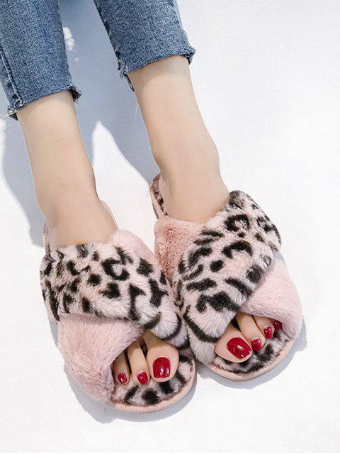 Chaussures Plates Léopard Imprimé Croisées en Fausse Fourrure - Rose  EU 40 Mobile