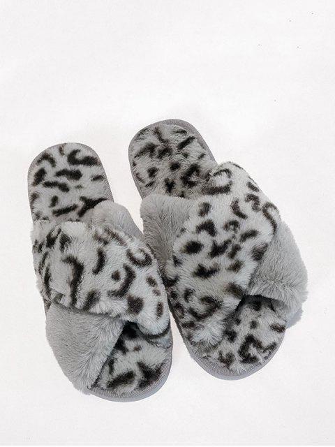 Chaussures Plates Léopard Imprimé Croisées en Fausse Fourrure - Gris EU 40 Mobile