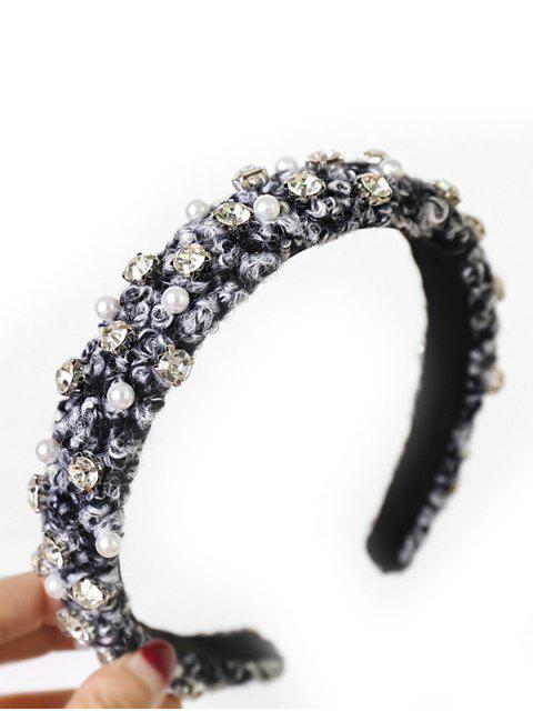 Bandeau Fausse Perle avec Strass - Noir  Mobile