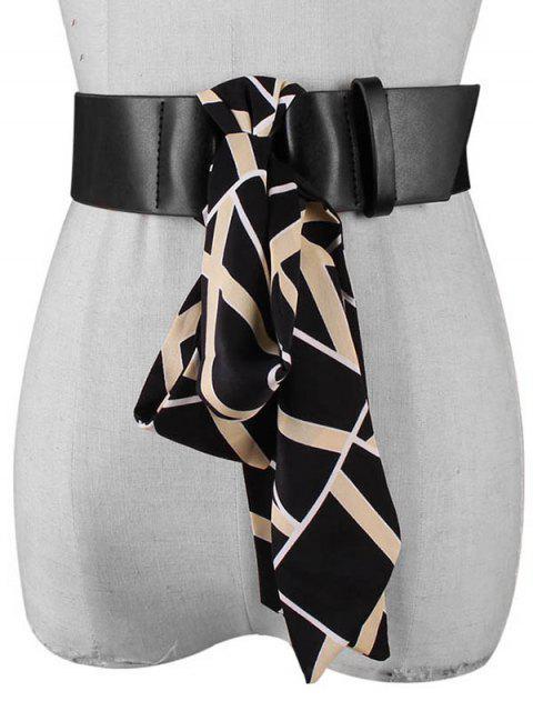 Полосатый принт Шарф Для платья PU Пояс - Чёрный  Mobile