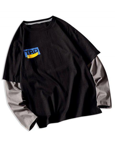 Faux dos piezas impresas gráfico camiseta ocasional - Negro M Mobile