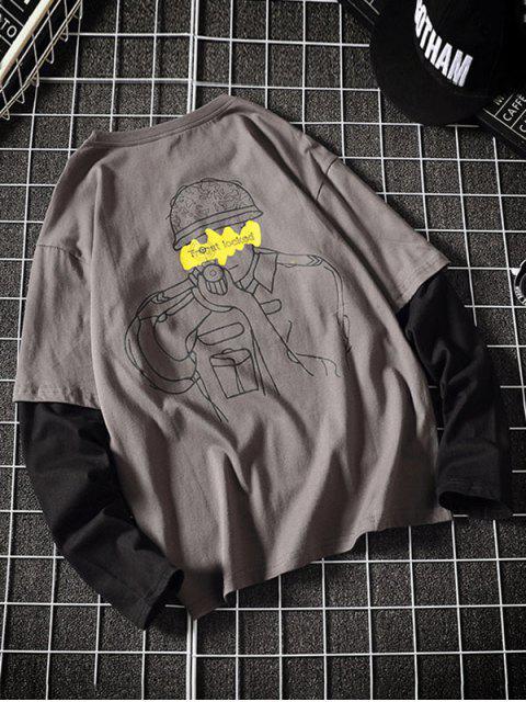 Faux dos piezas impresas gráfico camiseta ocasional - Gris L Mobile