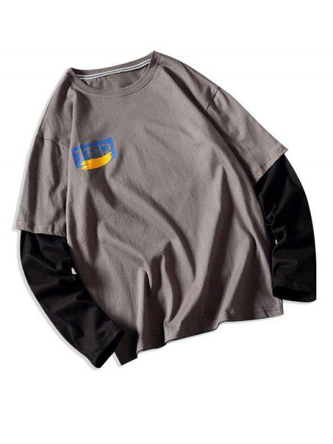 Faux dos piezas impresas gráfico camiseta ocasional - Gris M Mobile