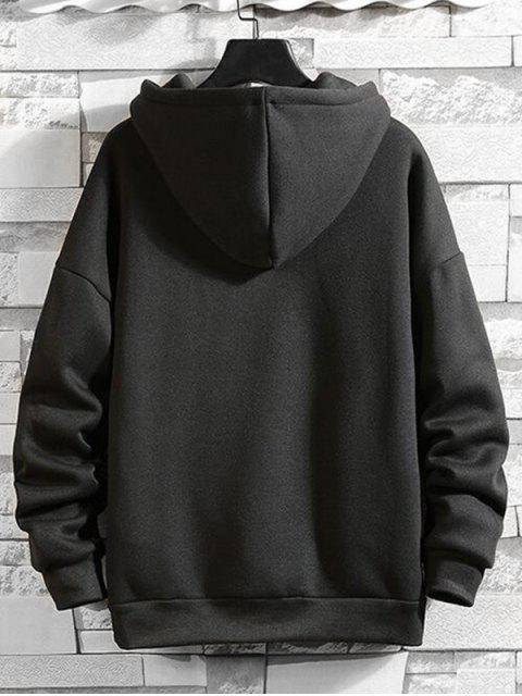 Anillo sólido Vent Zip con cordón Fleece con capucha - Negro M Mobile
