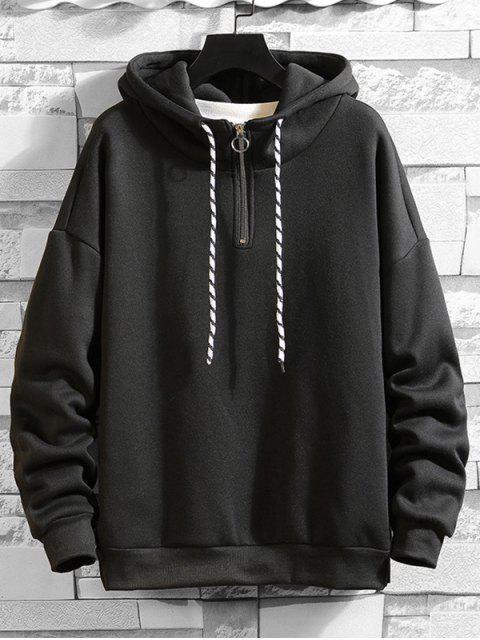 Anillo sólido Vent Zip con cordón Fleece con capucha - Negro L Mobile