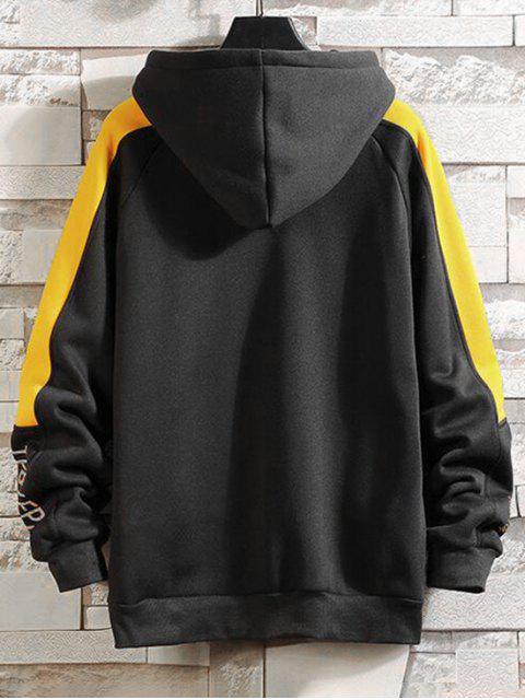 Carta de Colorblock empalmado raglán Fleece con capucha de la manga - Amarillo Brillante XL Mobile