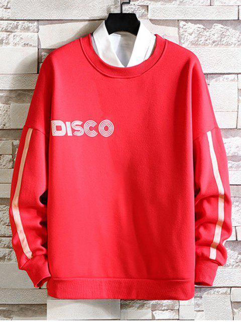 Estampado gota de hombro ocasional de la camiseta - Rojo M Mobile
