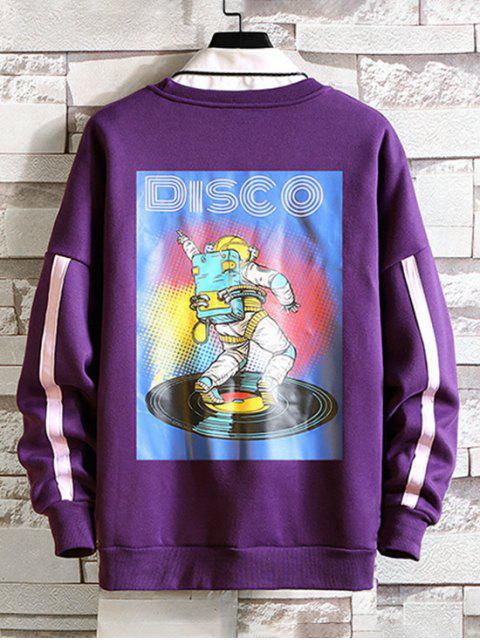 Estampado gota de hombro ocasional de la camiseta - Púrpura L Mobile