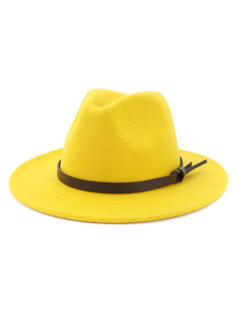 latest Woolen Solid Belt Tie Jazz Hat - YELLOW  Mobile