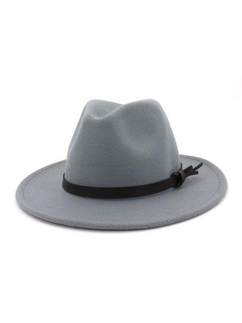 ladies Woolen Solid Belt Tie Jazz Hat - LIGHT GRAY  Mobile