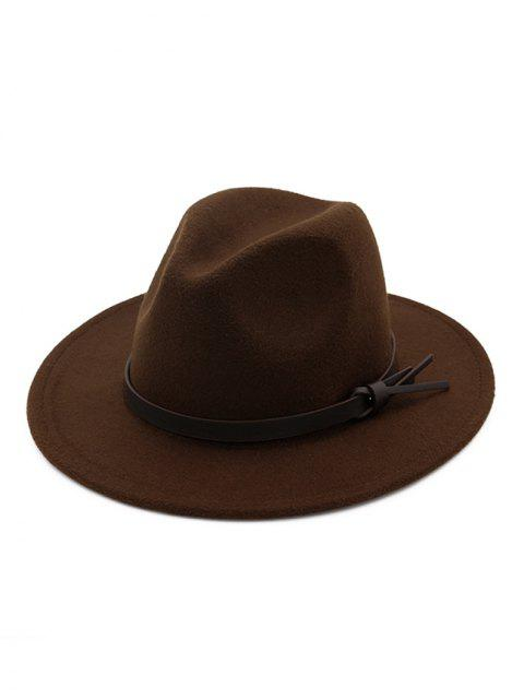 women's Woolen Solid Belt Tie Jazz Hat - COFFEE  Mobile