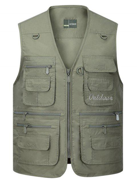sale Solid Multi Zip Pocket Travel Waistcoat - ARMY GREEN 2XL Mobile
