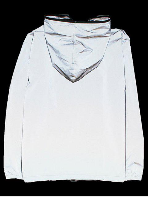 fancy Luminous Design Zip Up Jacket - SILVER XS Mobile
