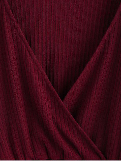 best ZAFUL Ribbed Cropped Surplice Knitwear - RED WINE XL Mobile