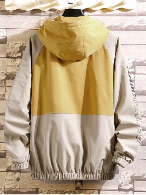 shops Colorblock Spliced Letter Raglan Sleeve Hooded Jacket - CORN YELLOW M Mobile