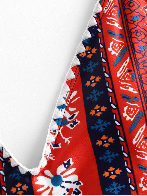 ZAFUL Богемный стиль Цветочный принт Открытая спина Слитный Купальник - Многоцветный-A S Mobile