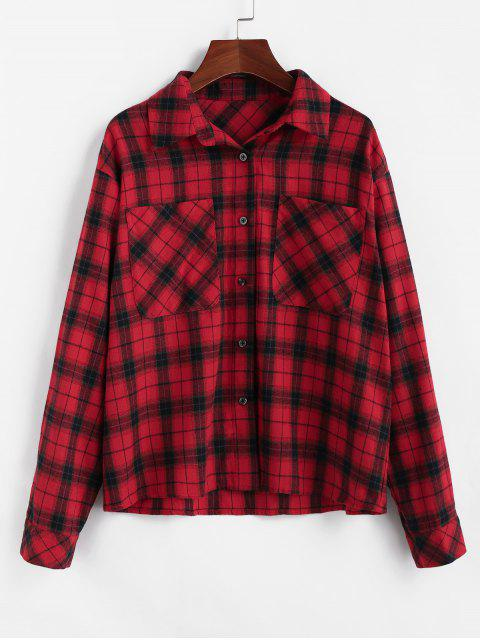 trendy ZAFUL Plaid Dual Chest Pocket Flannel Shirt - CHERRY RED M Mobile