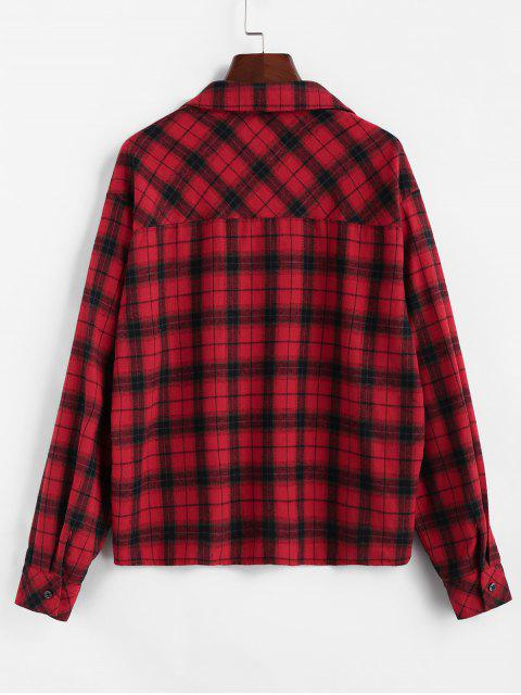 women ZAFUL Plaid Dual Chest Pocket Flannel Shirt - CHERRY RED L Mobile