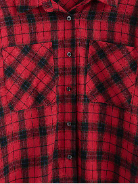 ladies ZAFUL Plaid Dual Chest Pocket Flannel Shirt - CHERRY RED XL Mobile