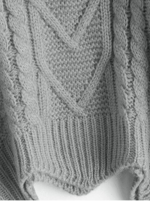 latest Chunky Knit Turtleneck Sweater - GRAY ONE SIZE Mobile