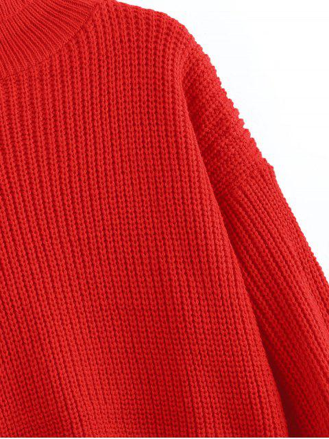 outfit Turtleneck Lantern Sleeves Chunky Sweater - ROSSO RED ONE SIZE Mobile