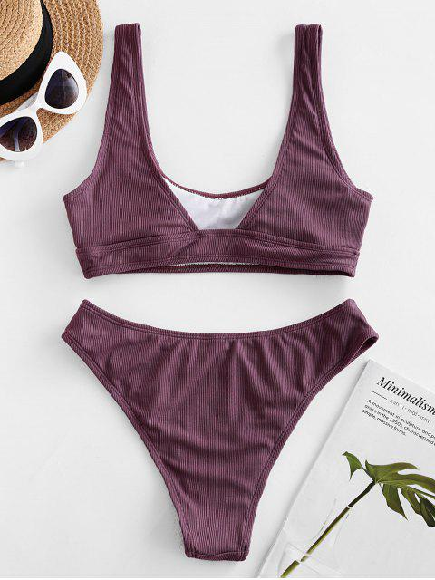 ZAFUL Bikini Acanalado de Corte Alto - Púrpura Oscuro M Mobile