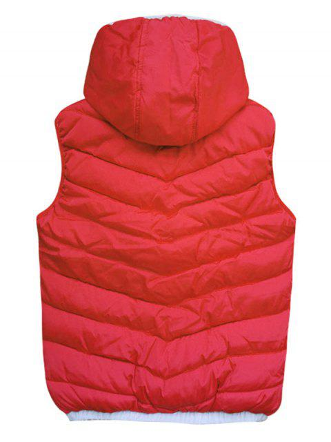 best Contrast Trim Spliced Drawstring Hooded Quilted Waistcoat - RED S Mobile